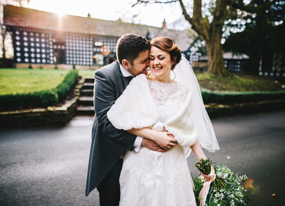 Samlesbury Hall wedding - making the most of the winter sun