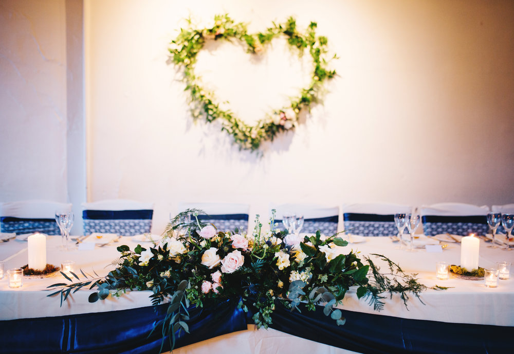 floral decorations at samlesbury hall wedding