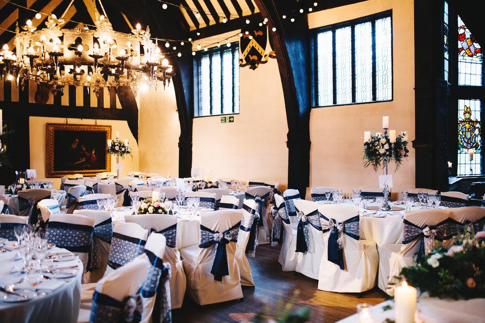 Lancashire wedding photographer - Samlesbury Hall wedding venue set up for a winter wedding