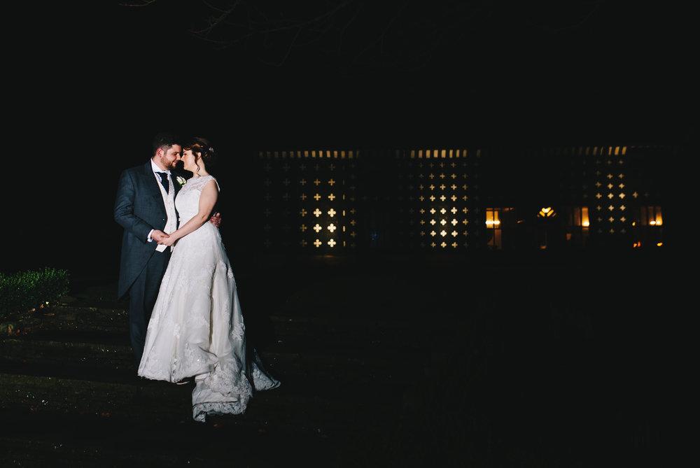 creative backlit portraits of bride and groom