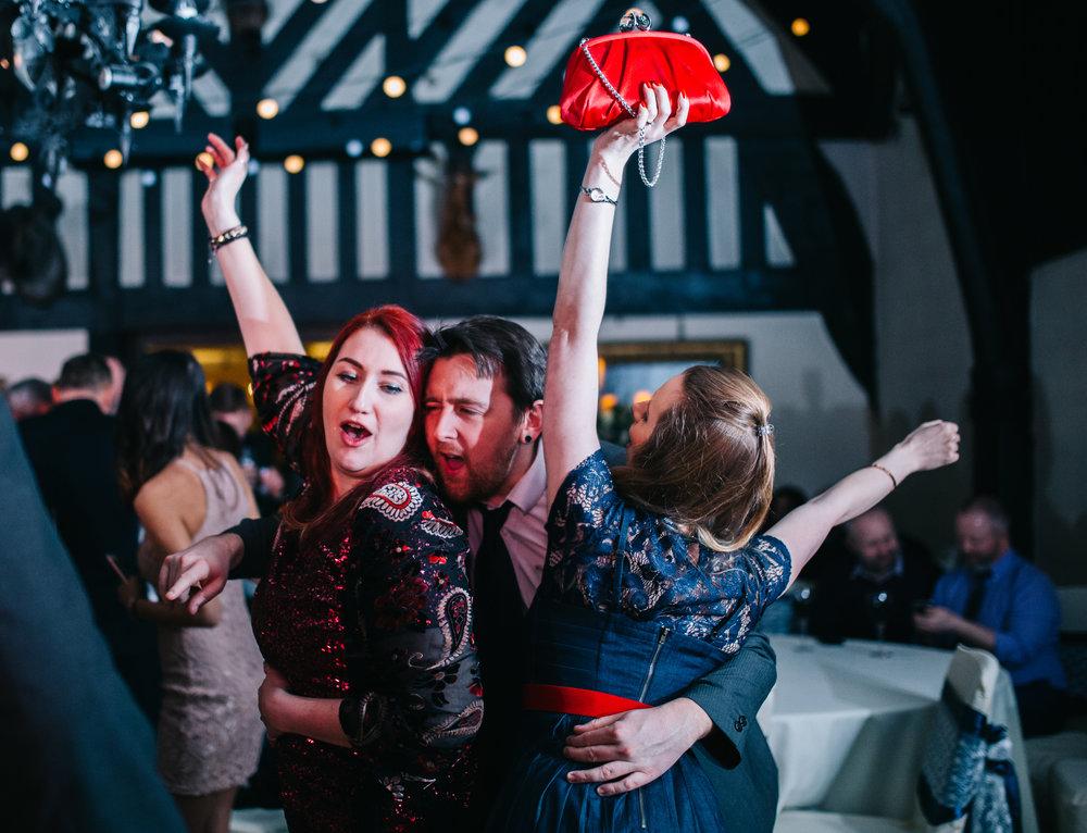 guests dancing - samlesbury hall wedding photography