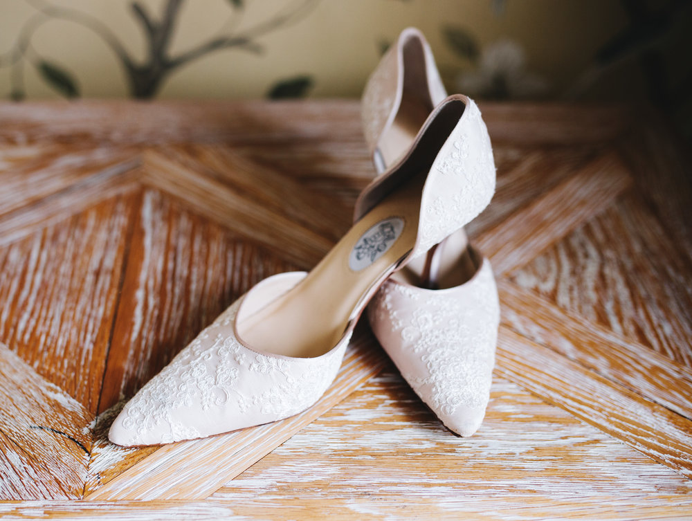 close up of bride's shoes - wedding photography in Lancashire