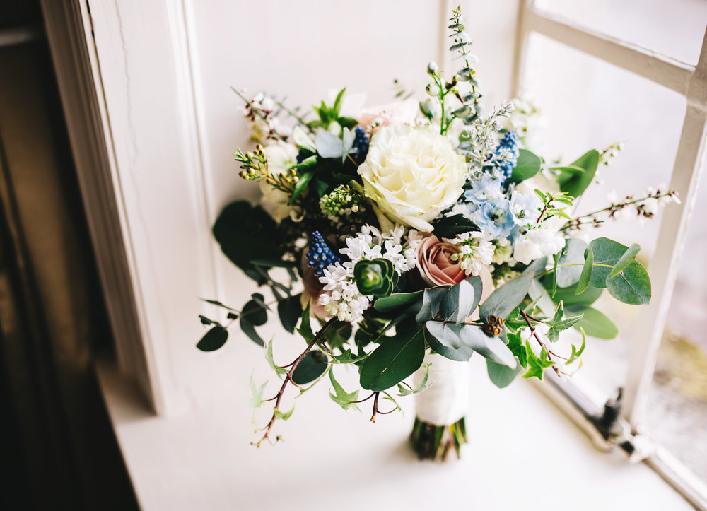 close up of winter wedding bouquet in Lancashire