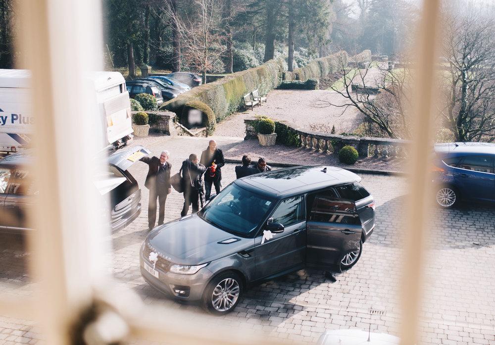 groom arrives at eaves hall