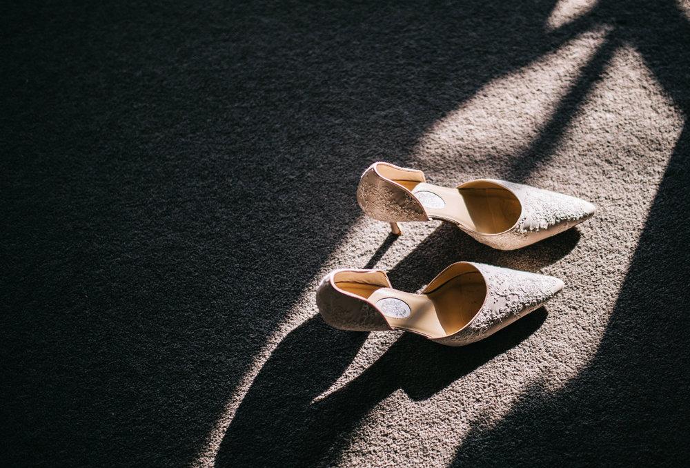 artistic shot of bride's shoes - wedding photography lancashire