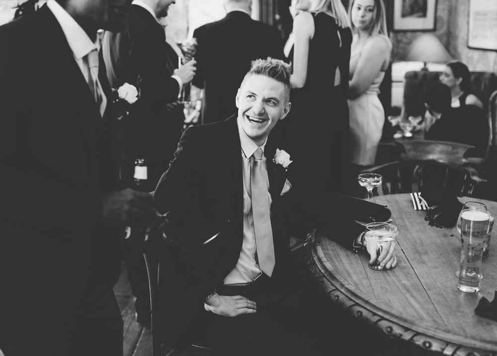 black and white documentary photography at wedding guests