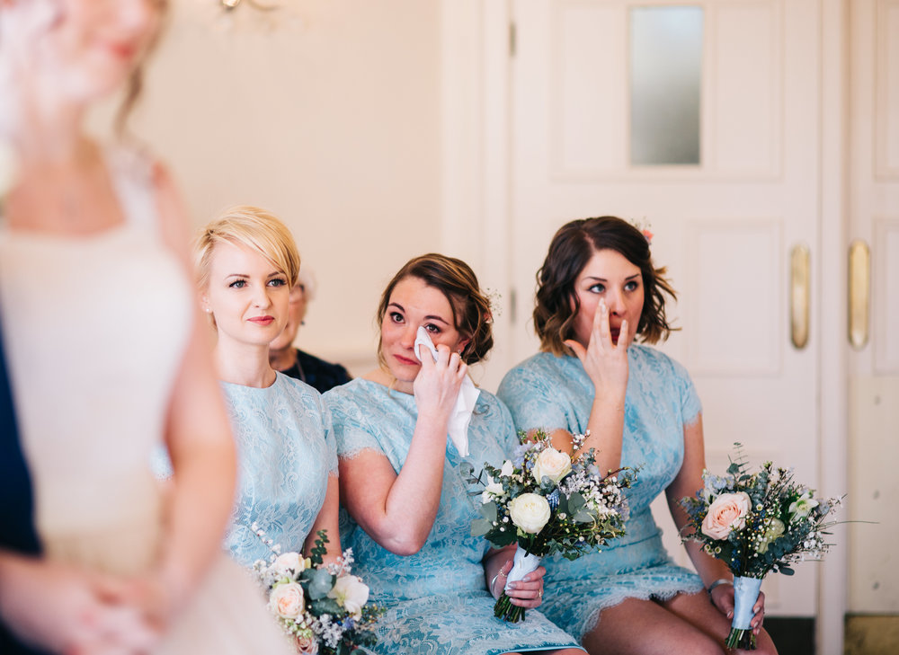 bridesmaids getting emotional - wedding photography at eaves hall lancashire