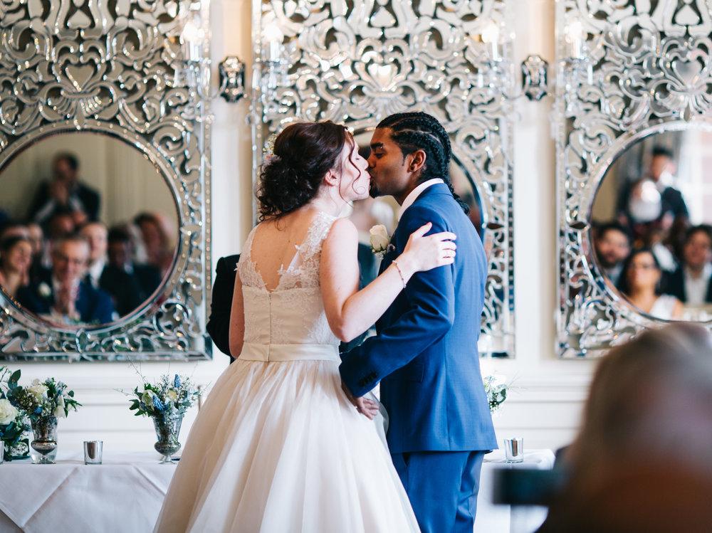 first kiss - captured by lancashire wedding photographer