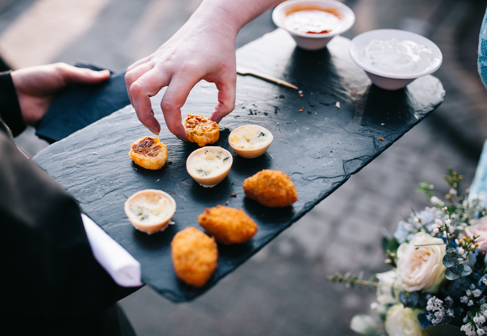 close up of wedding food at eaves hall