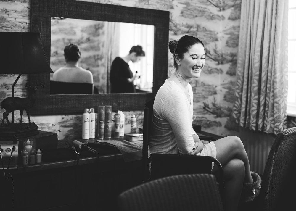bride getting ready at eaves hall wedding