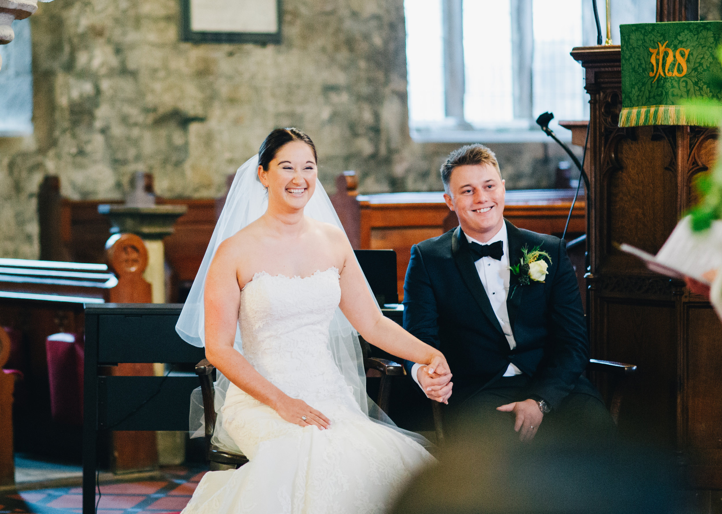 Ribble Valley wedding photographer - bride and groom at wedding ceremony