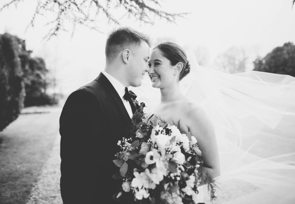 intimate and relaxed - a close up portrait of the bride and groom