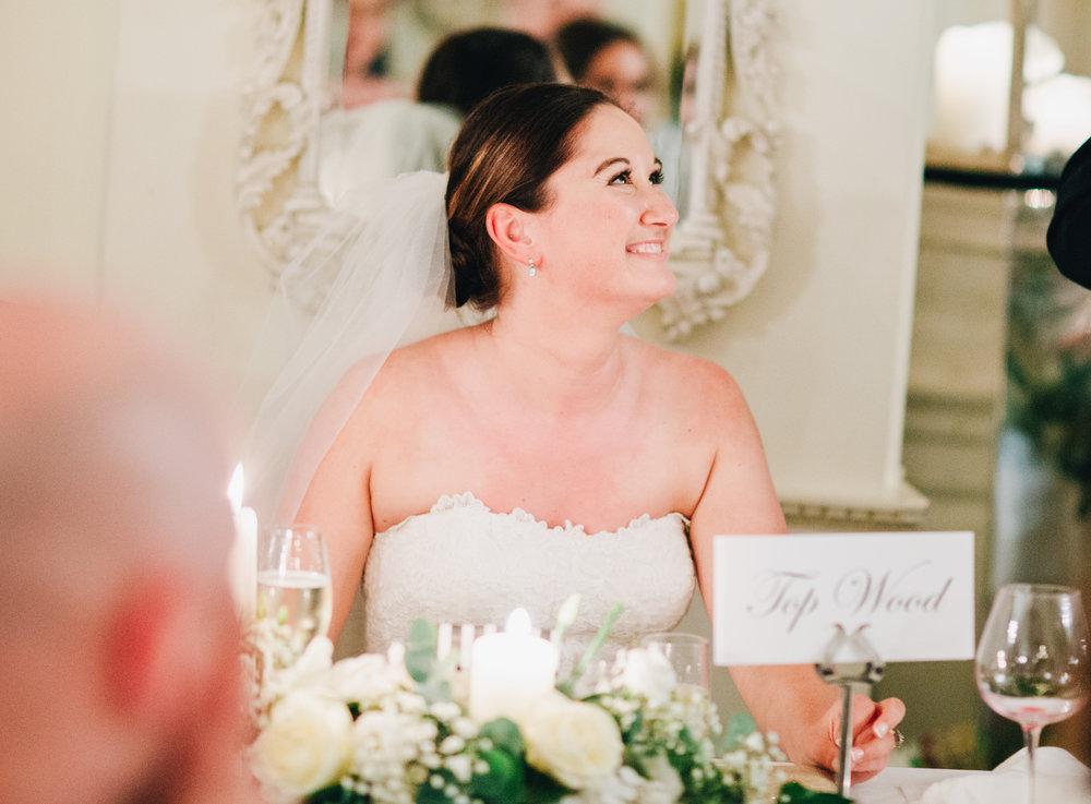 bride gets emotional during wedding speeches