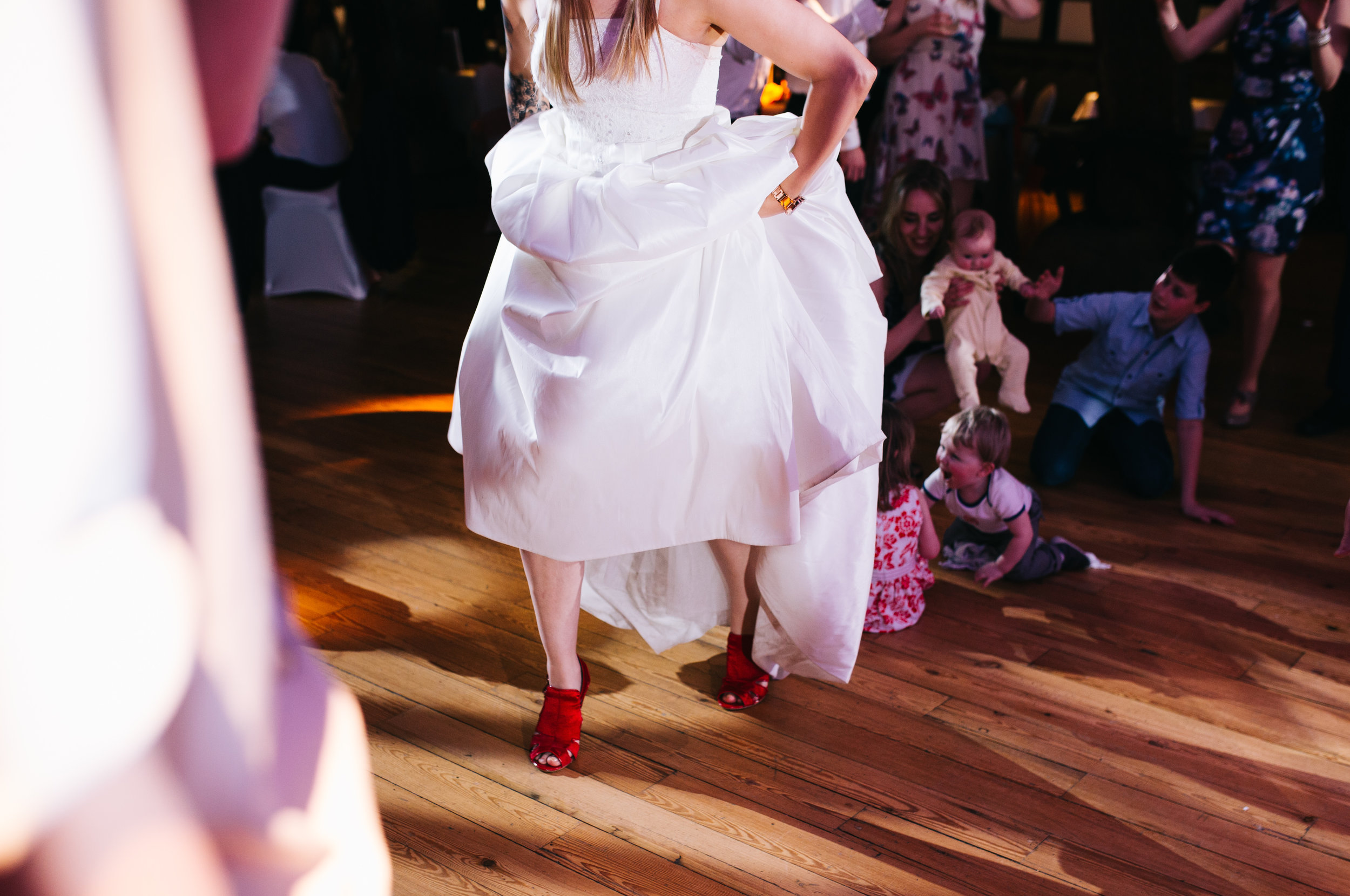 Rivington Barn wedding pictures - fun dancefloor