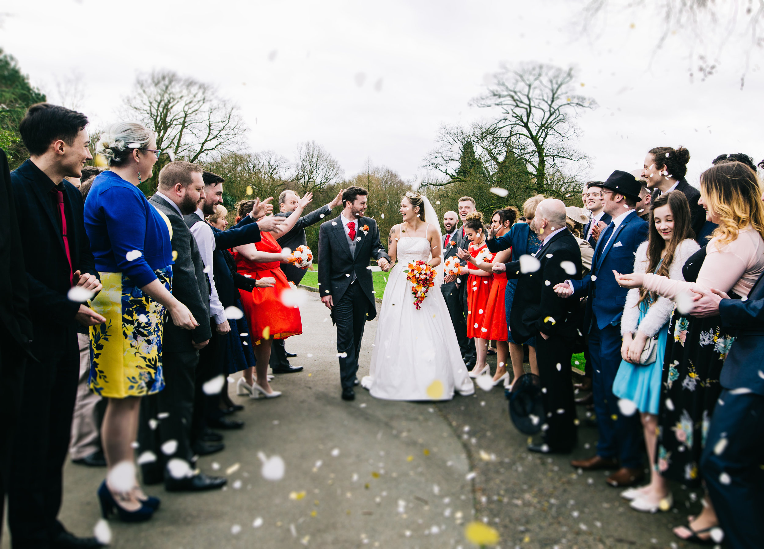 Rivington Barn wedding pictures - confetti