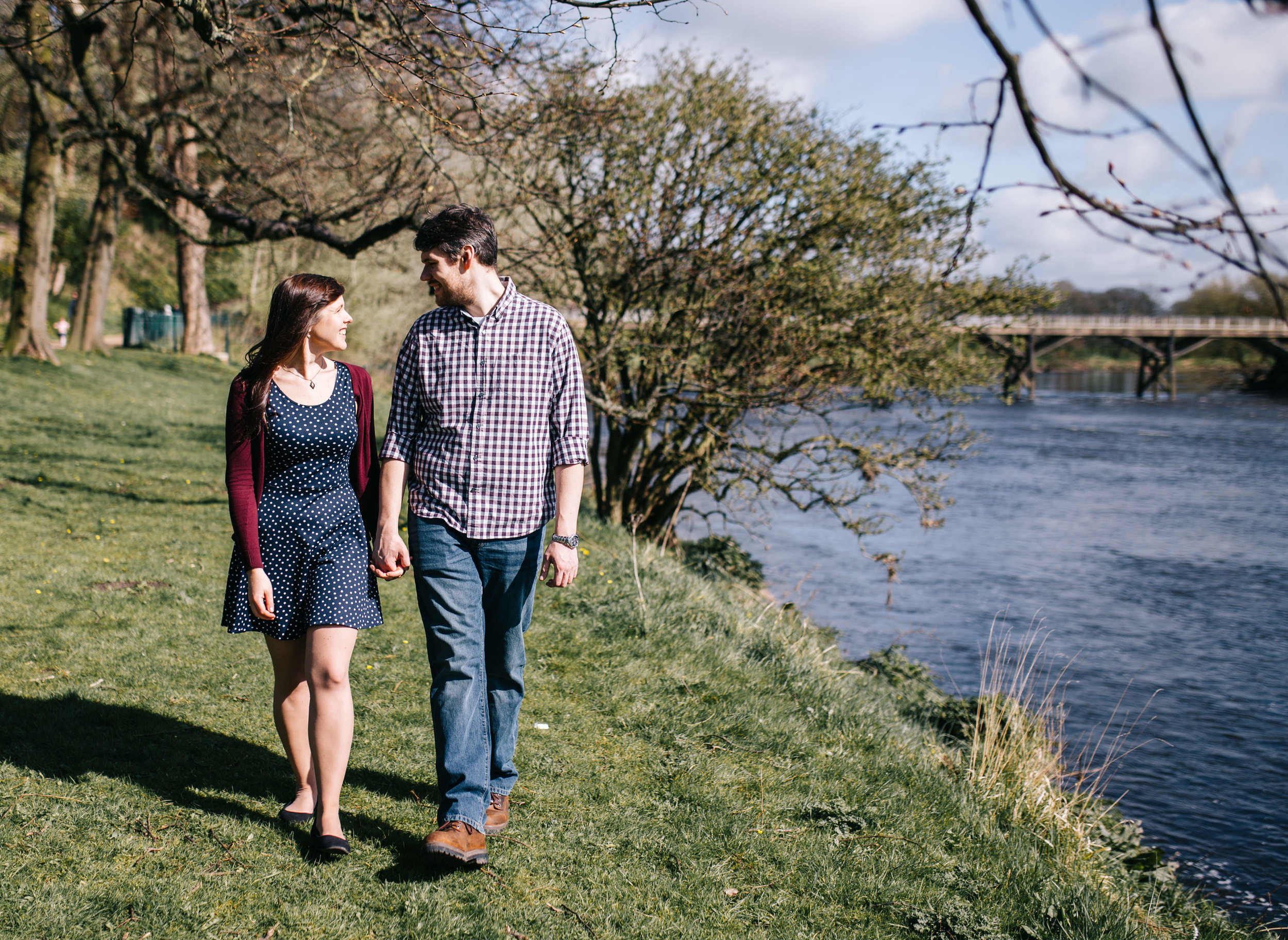 walking by the river - avenham park wedding