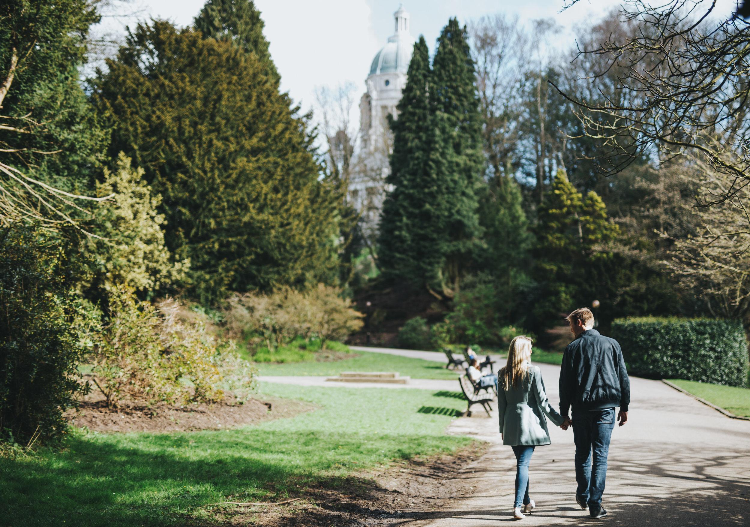 walking through Williamson Park - engagement shoot