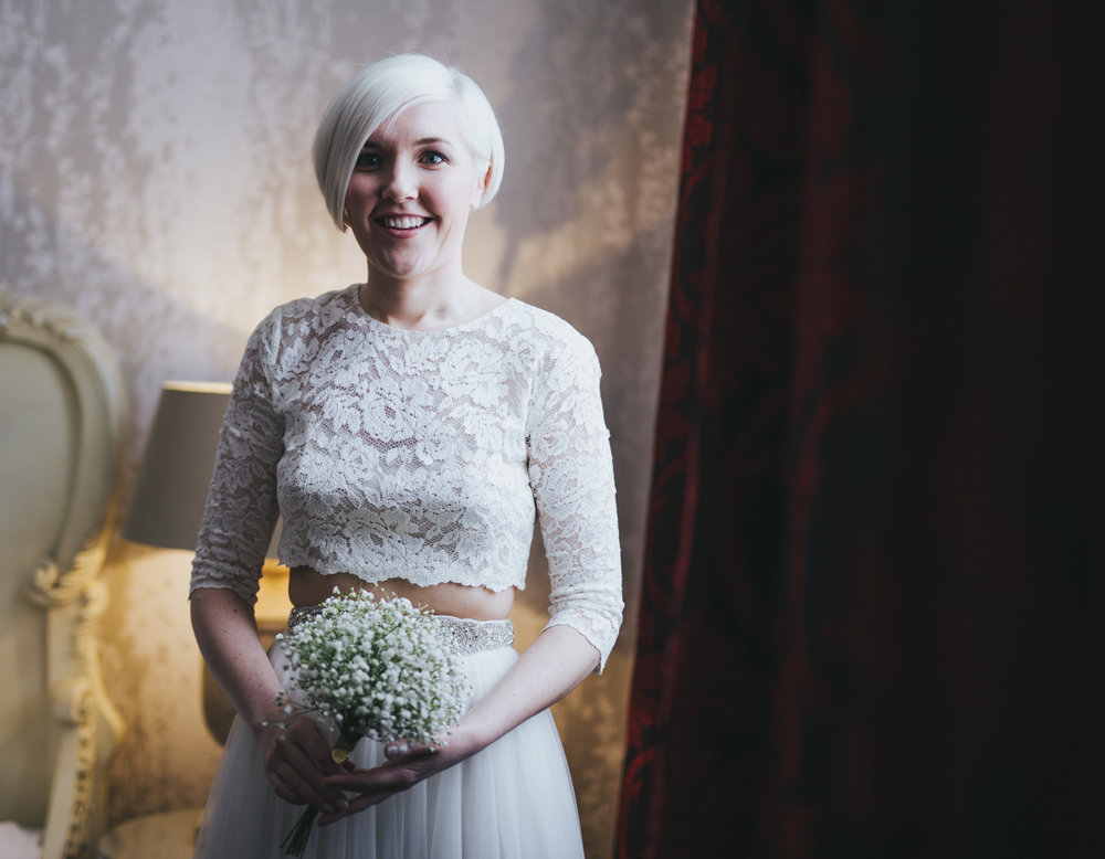 relaxed portrait of the bride - stylish wedding at great john street hotel manchester