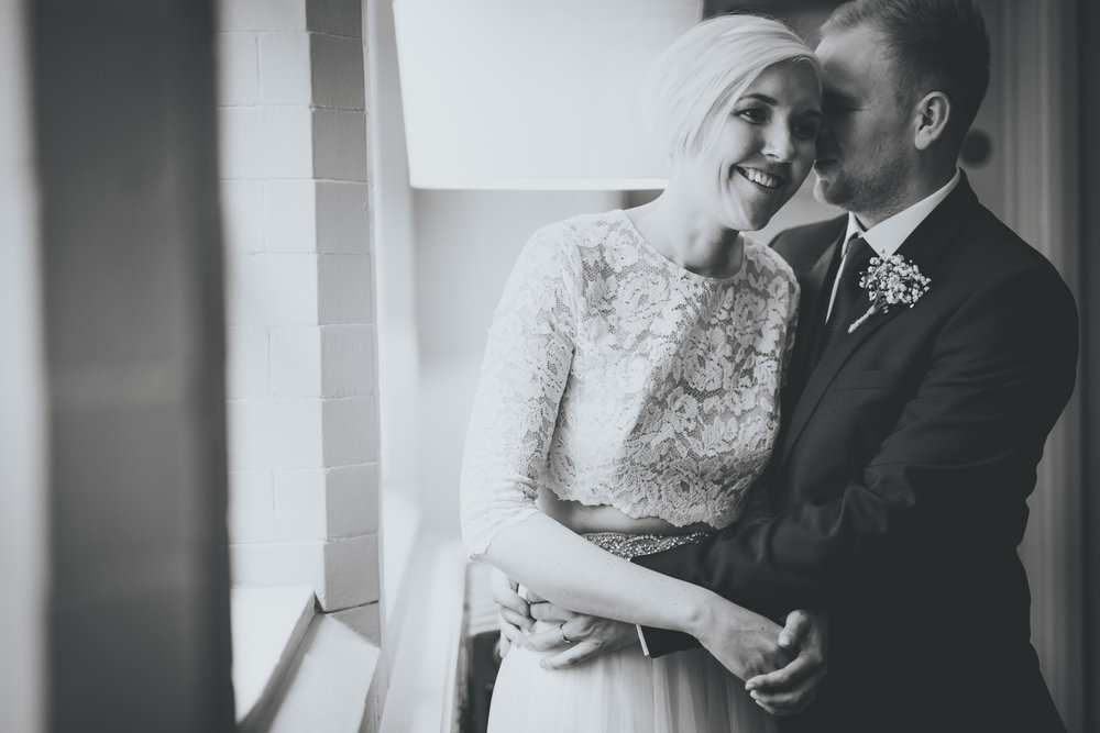 black and white portraits of the bride and groom at great john street hotel manchester