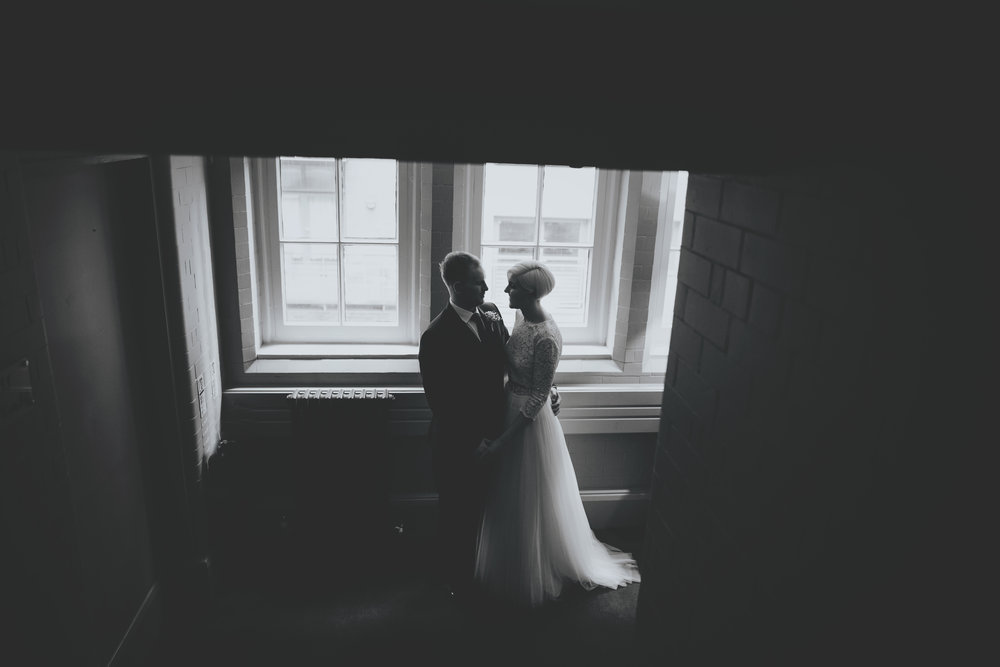 artistic picture of the bride and groom at manchester wedding