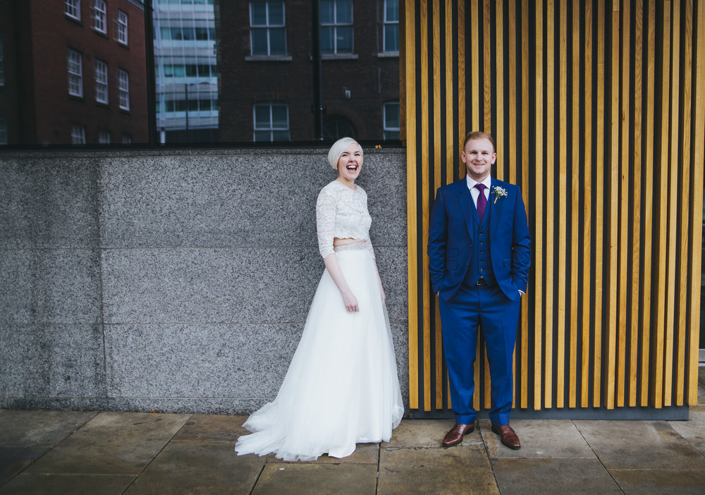 fun and relaxed wedding images in manchester city centre