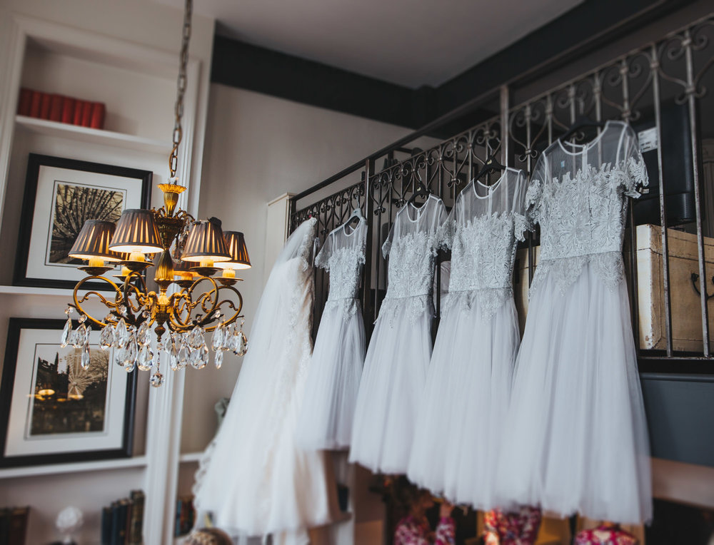 dresses all hung up at great John street hotel wedding