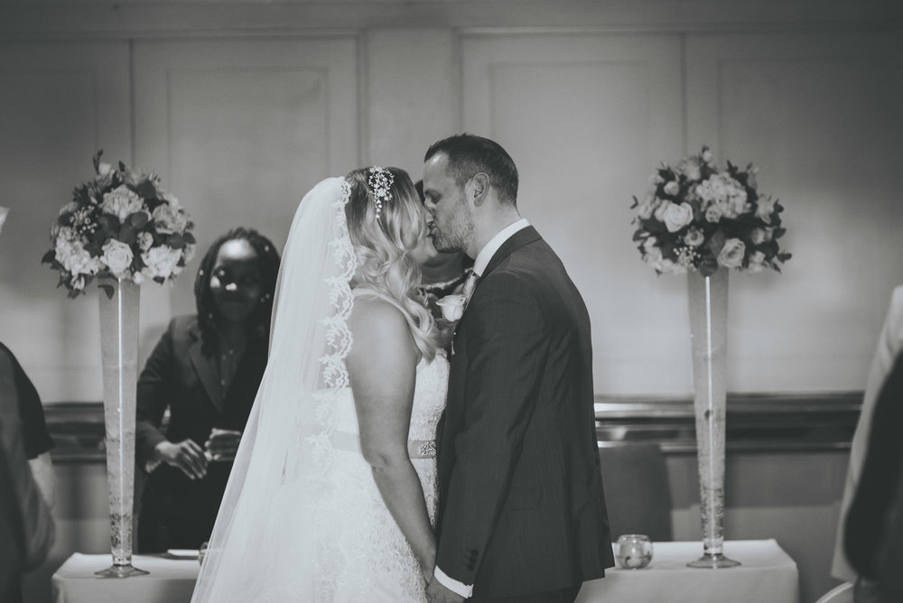 the first kiss at great John street hotel wedding Manchester