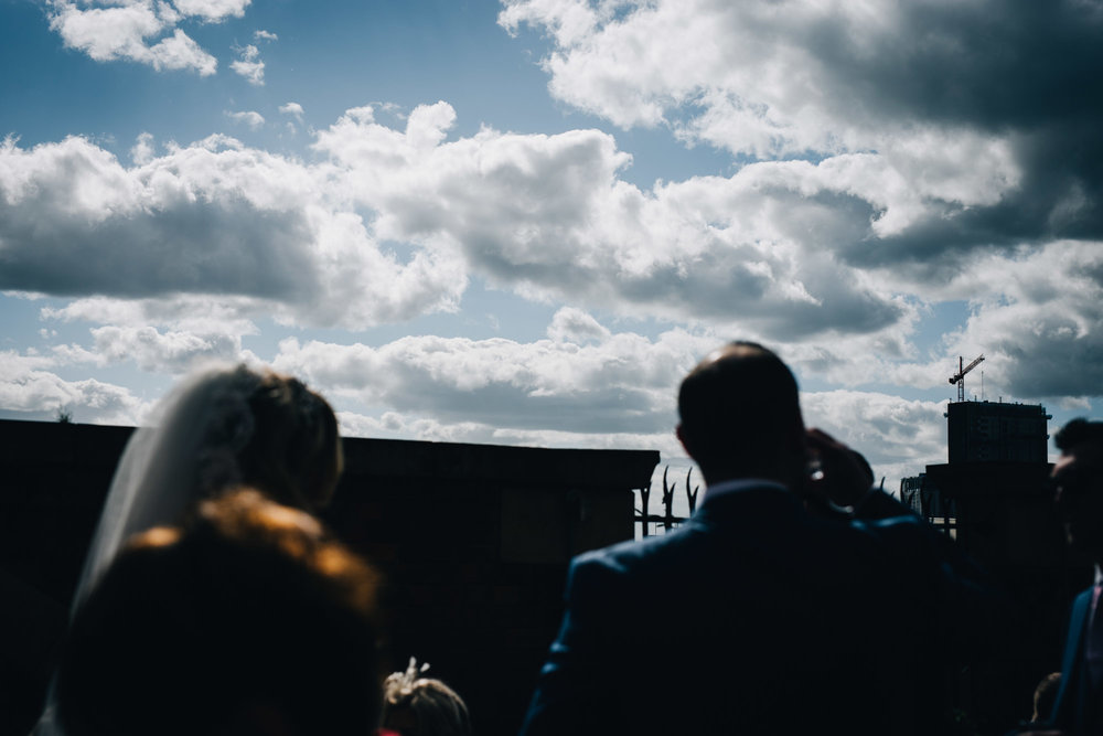 artistic shot of the skyline - Manchester wedding