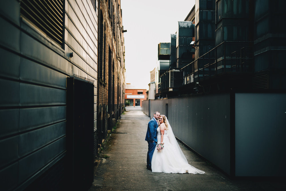 creative wedding portraits around Manchester City centre - great john street hotel wedding