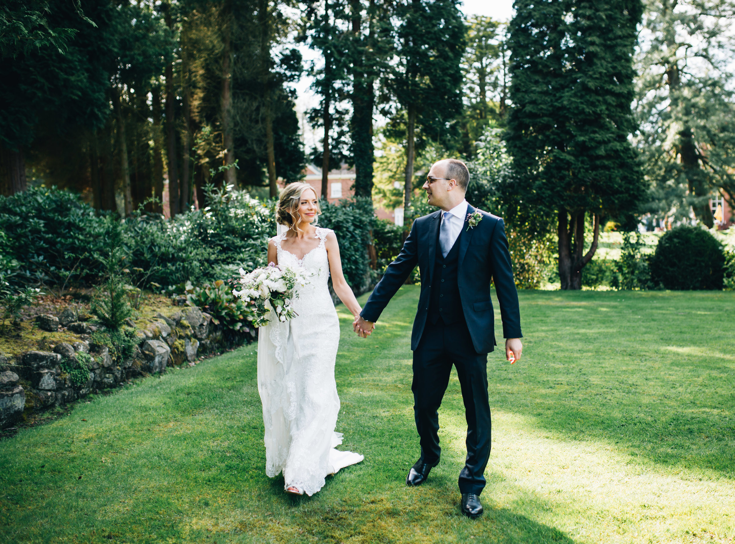 walking through the grounds at Cheshire wedding venues