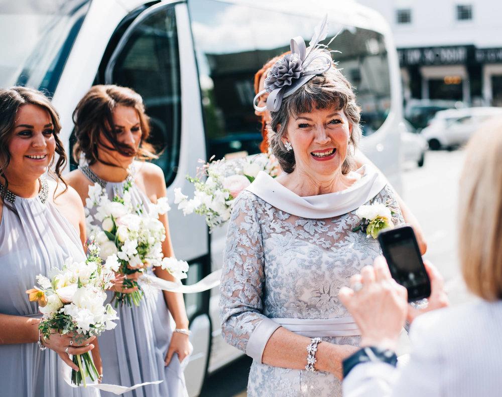 bride's mum outside church