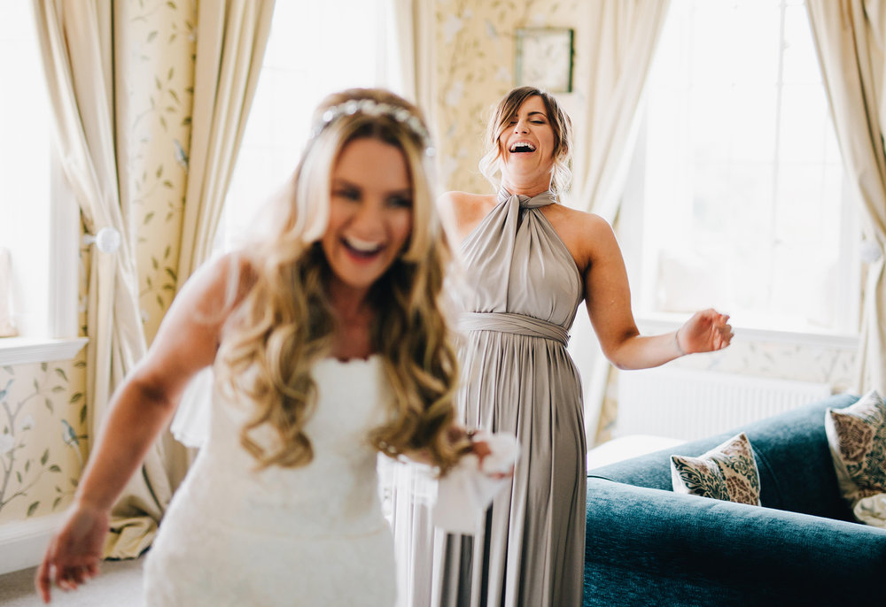 reaction of bridesmaids - eaves hall wedding