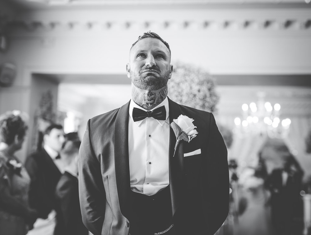 groom gets emotional waiting for the bride