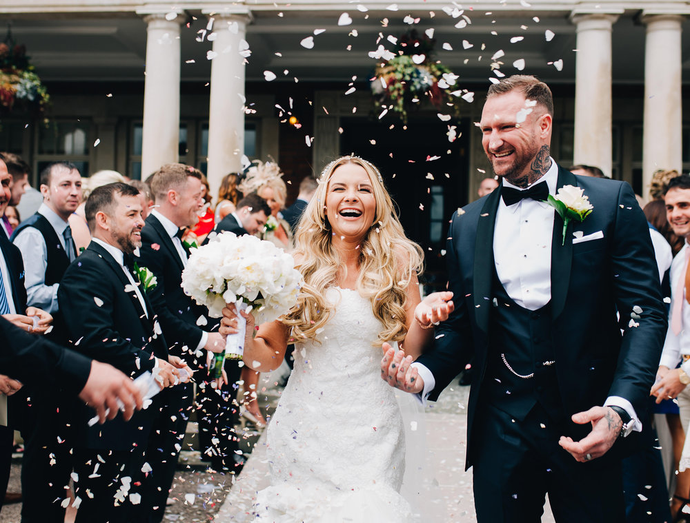 ribble valley wedding photography - confetti shot