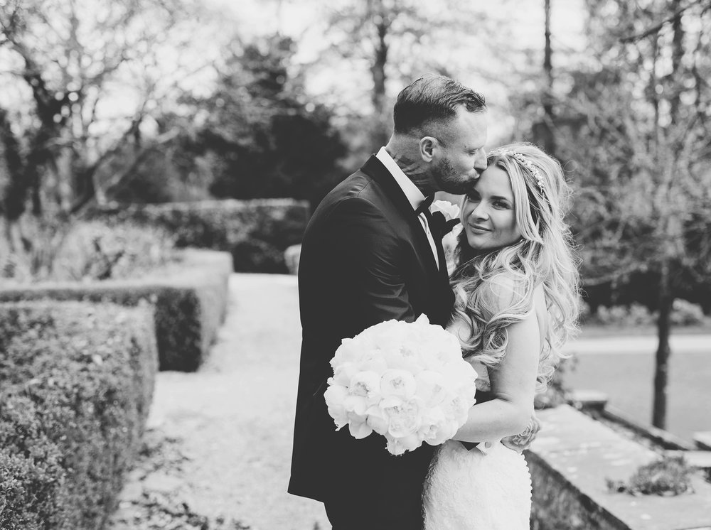 intimate black and white wedding pictures - Ribble Valley wedding photographer