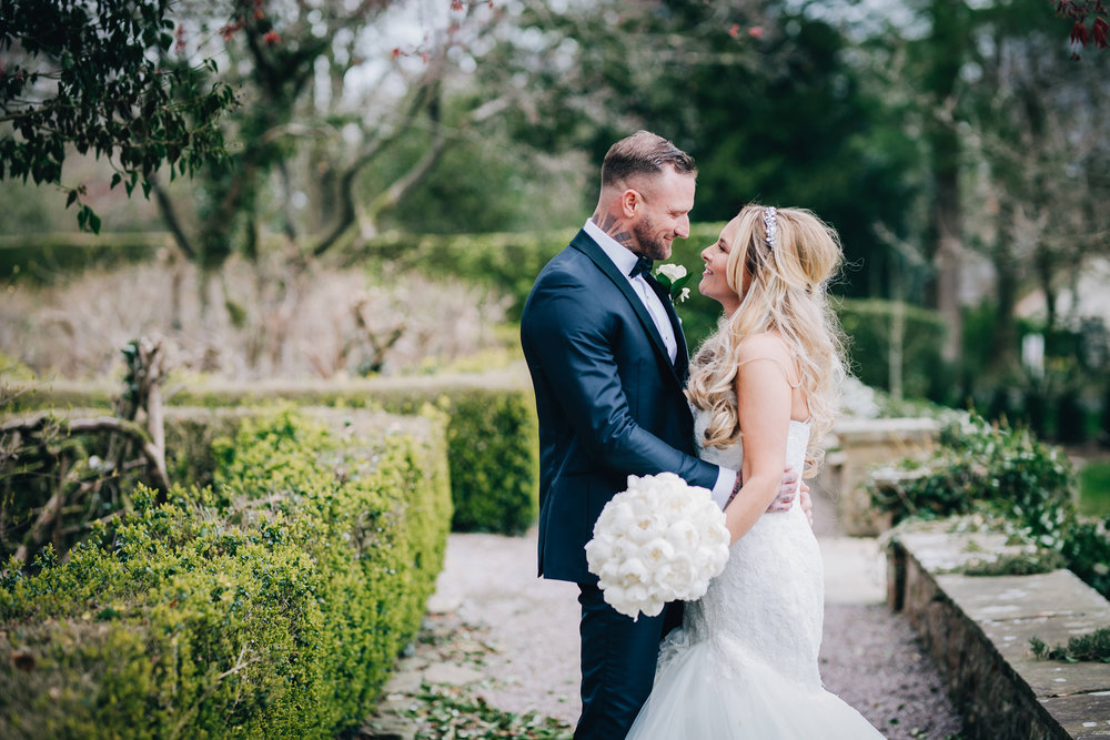 relaxed bride and groom portraits in the Ribble Valley