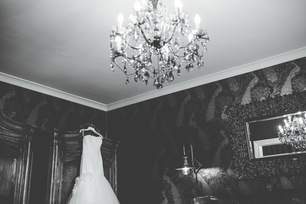 dress hanging in the bridal suite at eaves hall