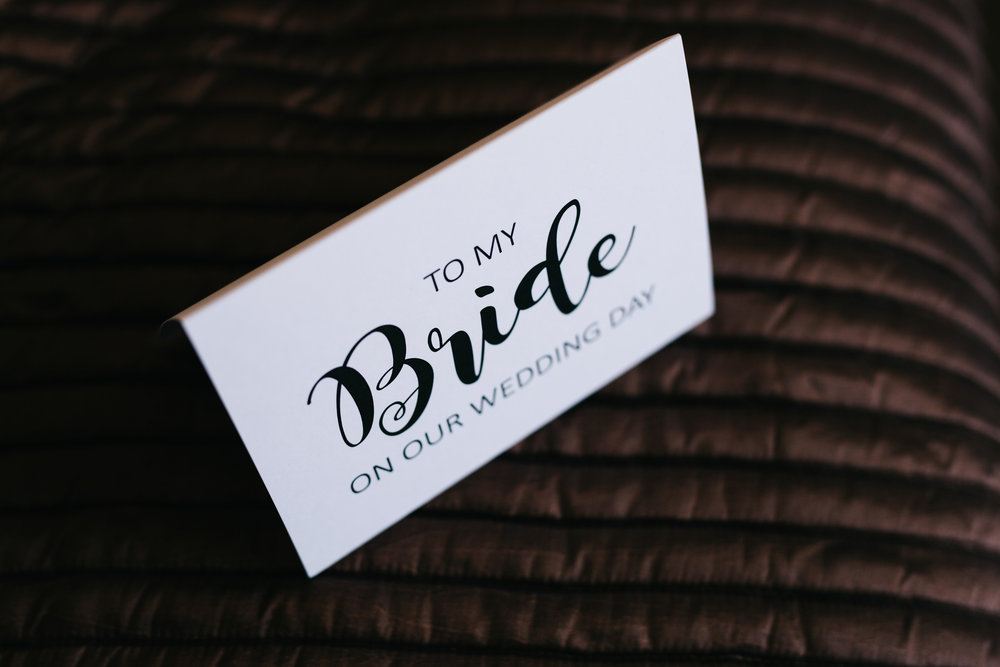 close up of  thank you card at Manchester wedding
