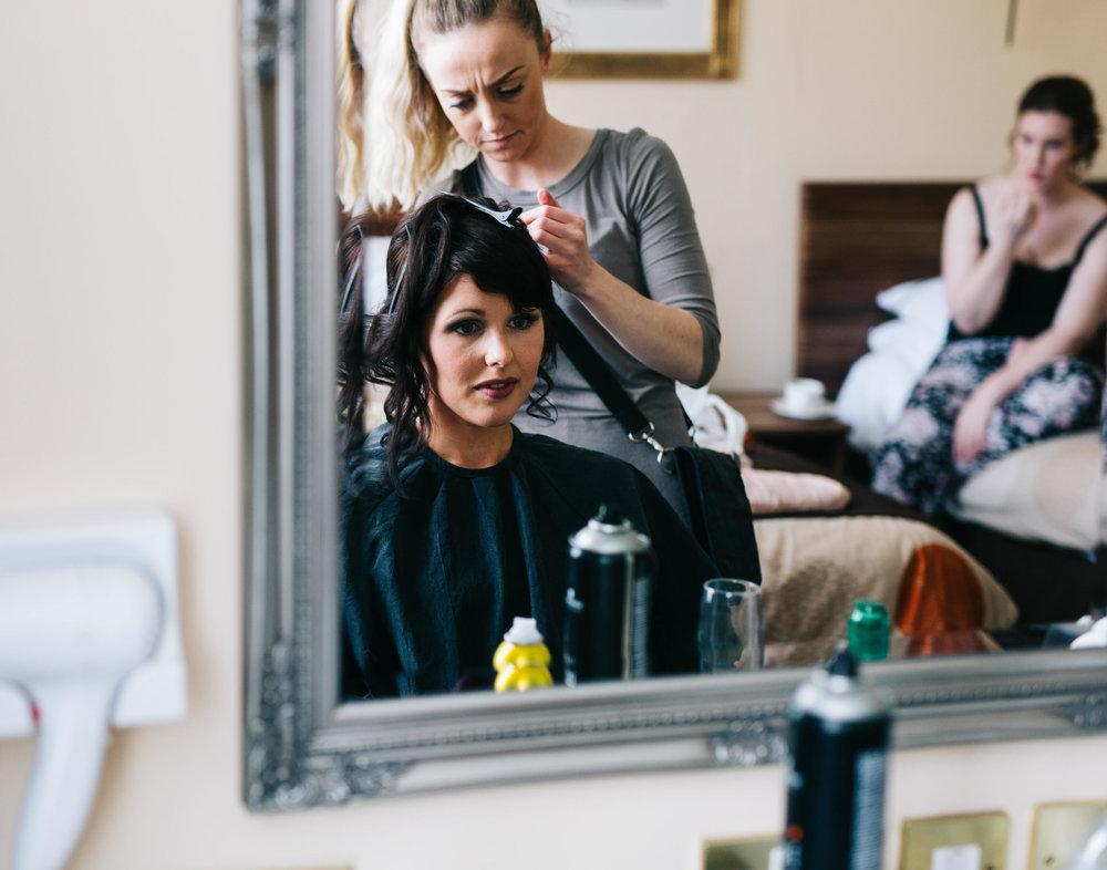 bride having her hair done - Hyde Bank Farm wedding