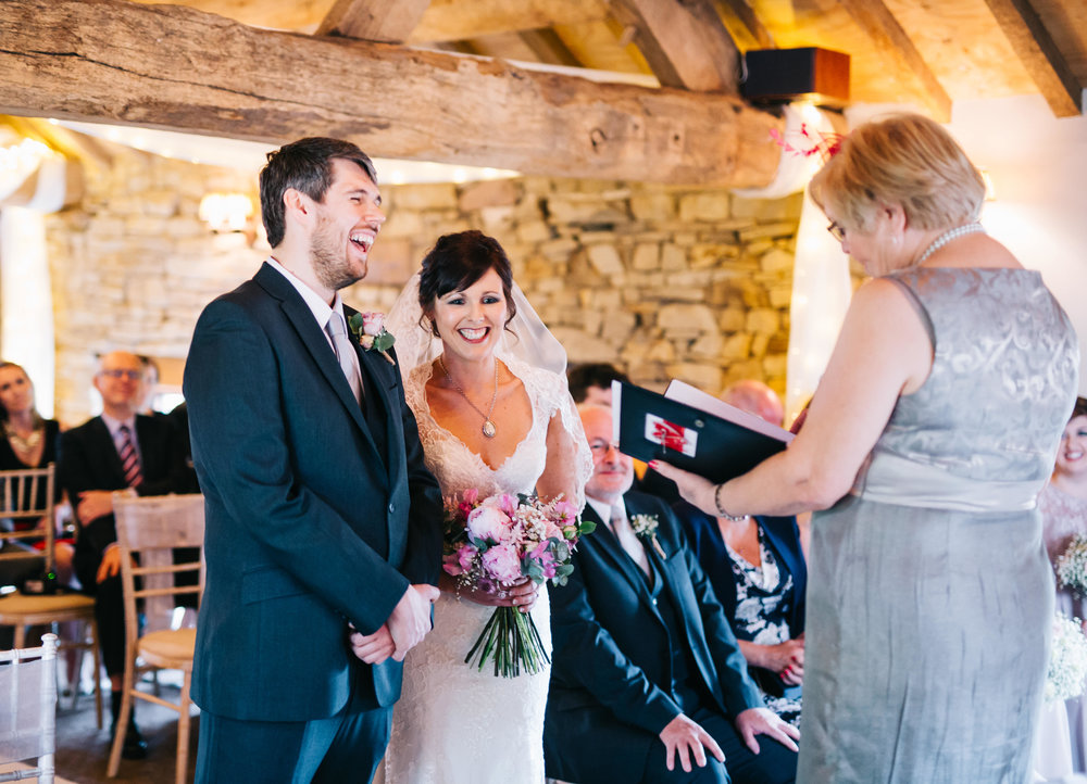 bride and groom - wedding ceremony at Hyde Bank Farm