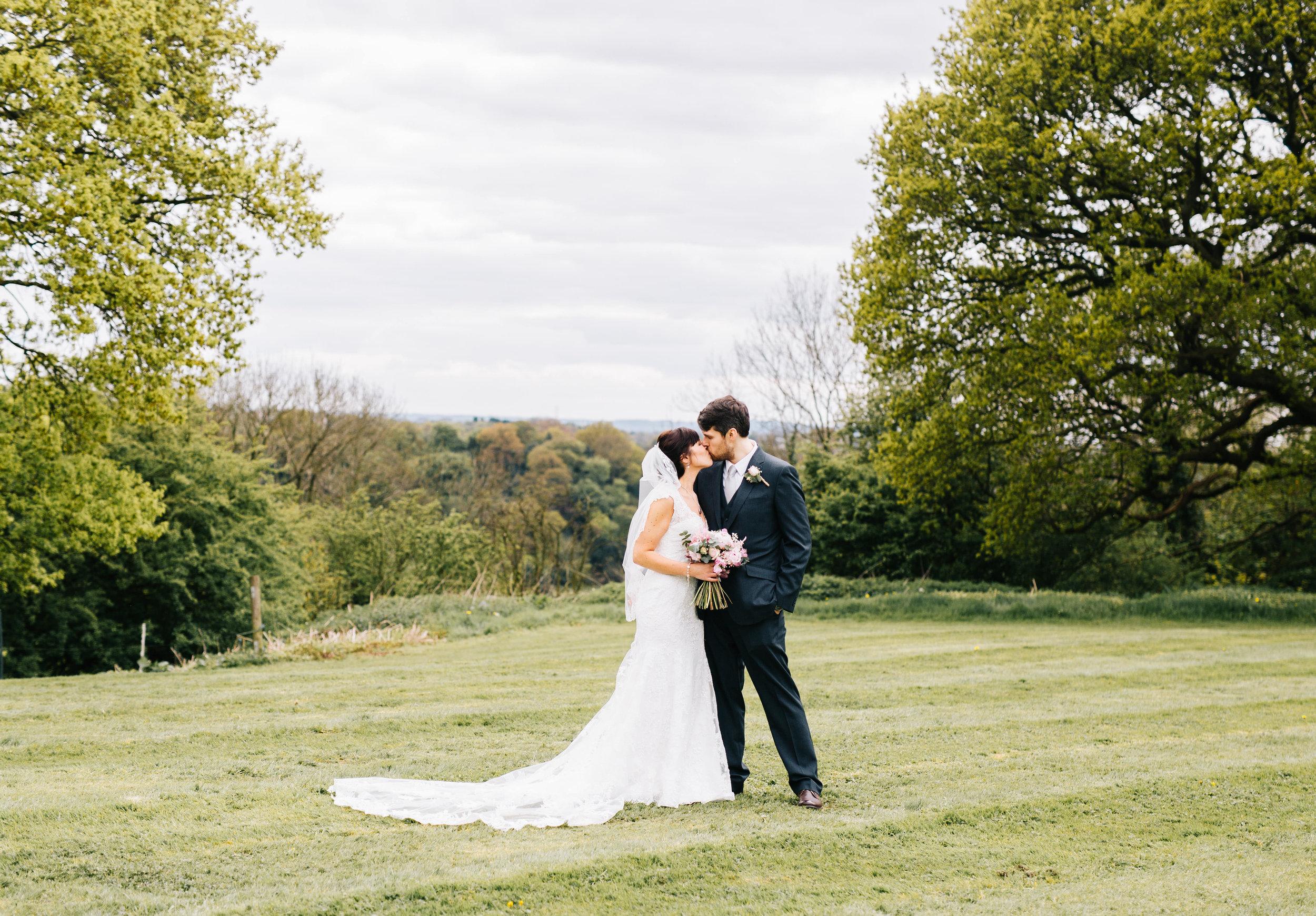 Bride and groom at Hyde Bank Farm