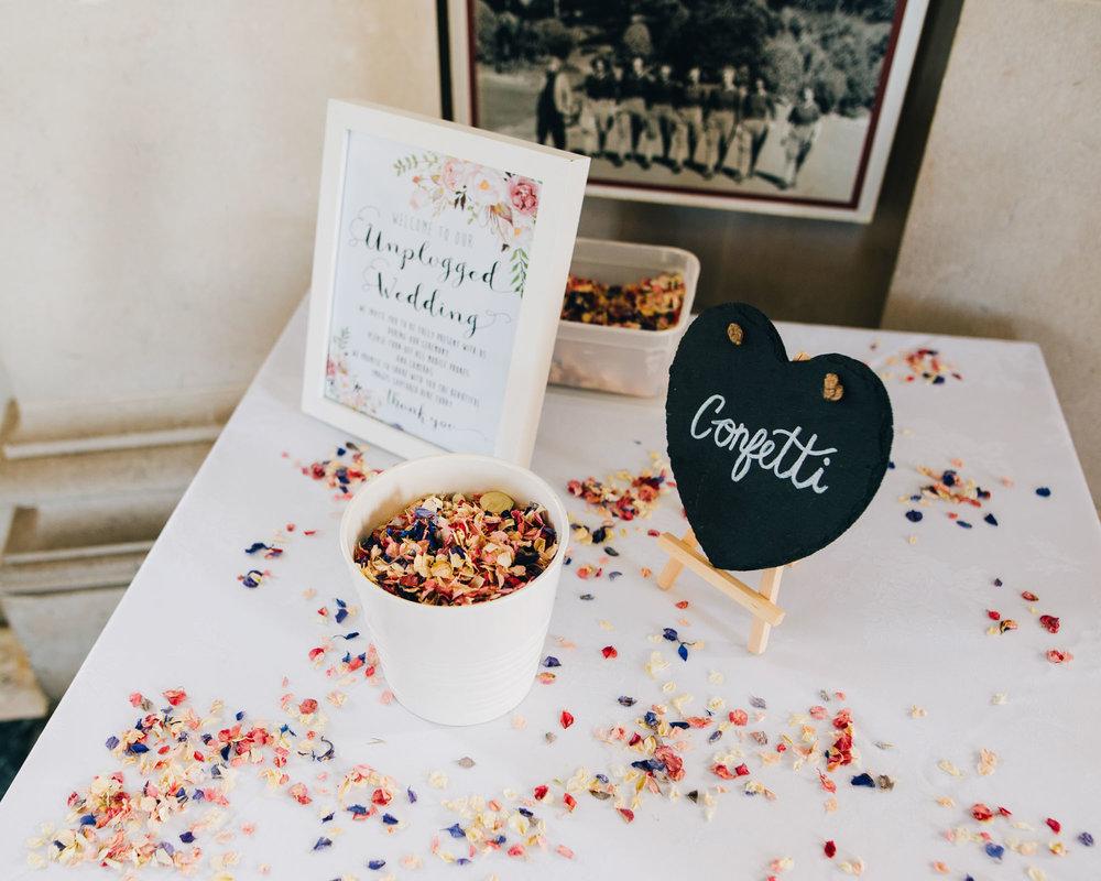 Colourful confetti, Lancaster wedding, Relaxed wedding.