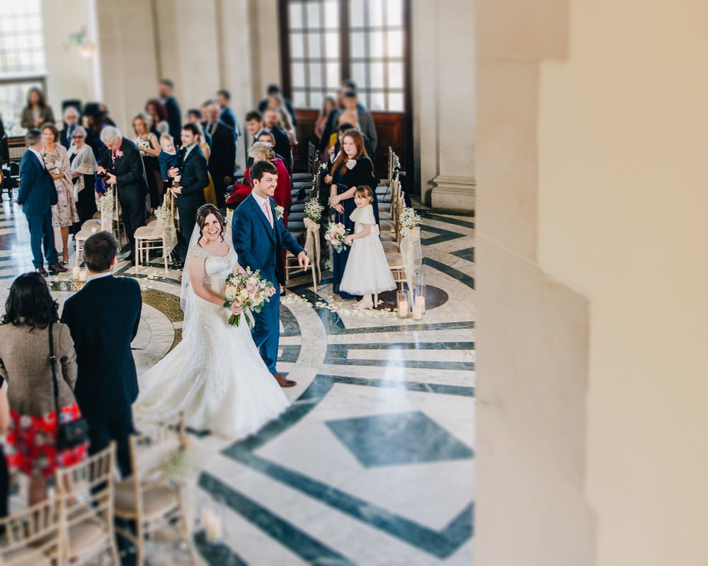 Bride and groom walking back down the aisle, Wedding at Ashton Memorial, Vintage styled wedding in Lancaster.