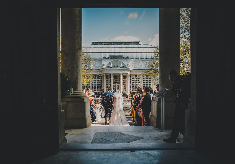 Confetti walk for the bride and groom, Creative wedding photography, Rustic themed wedding at Ashton Memorial.