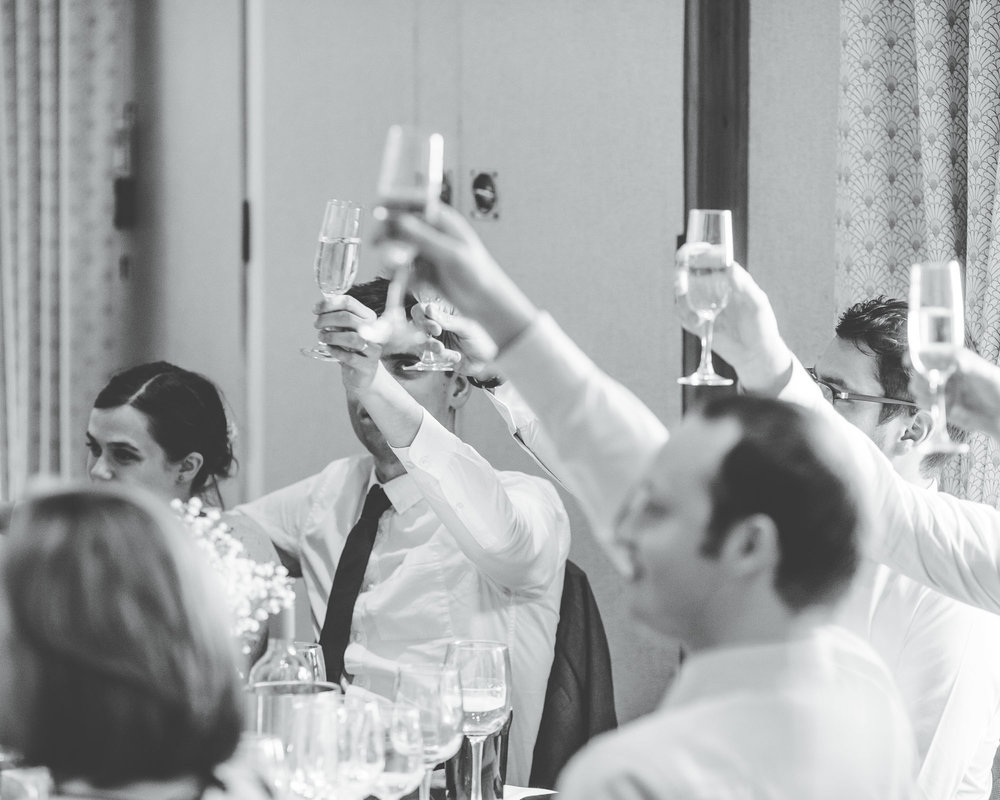 Cheers to the bride and groom, Wedding guest, Blac and white photography, creative photographs in Lancaster.