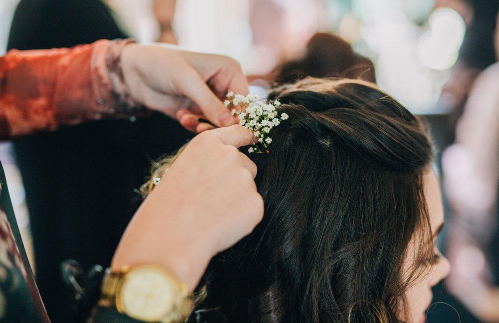 Bridal hair, Rustic wedding, Lancaster wedding, Documentary wedding photography.