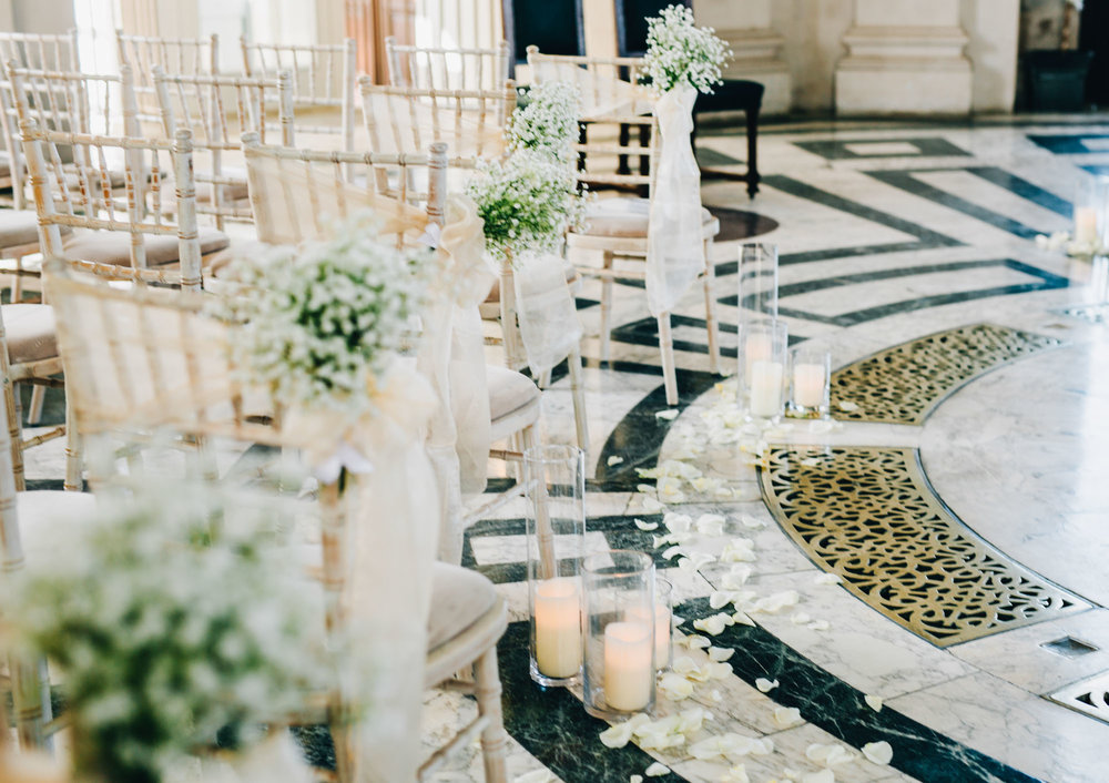 The aisle decorations at Ashton Memorial, Rustic themed wedding, .