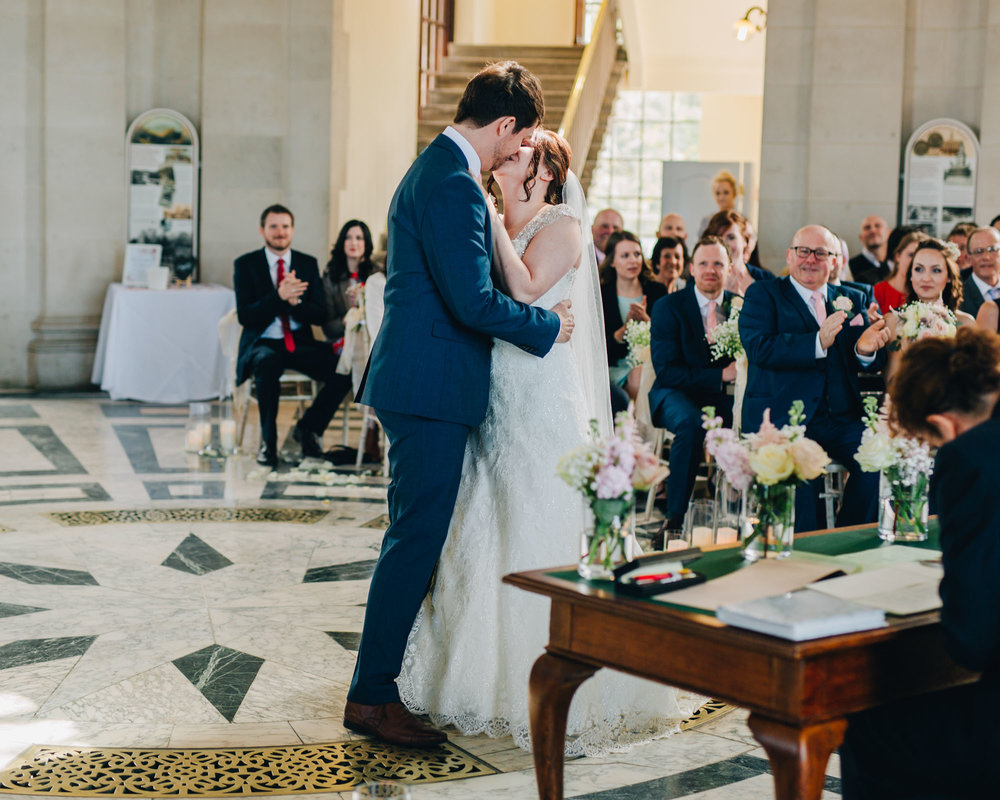 Bride and Groom first kiss, Rustic styled wedding, Creative photography.