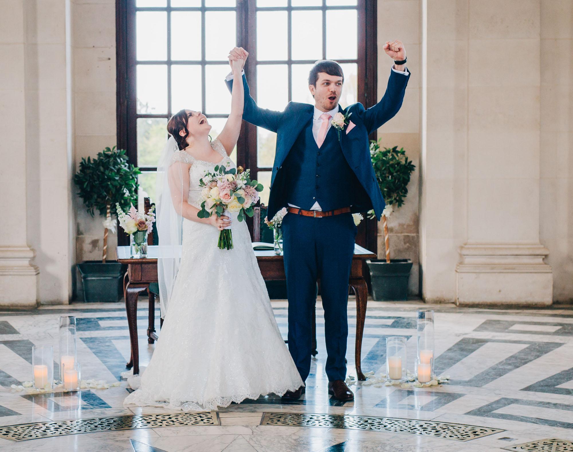 very excited newlyweds - Lancashire wedding photography