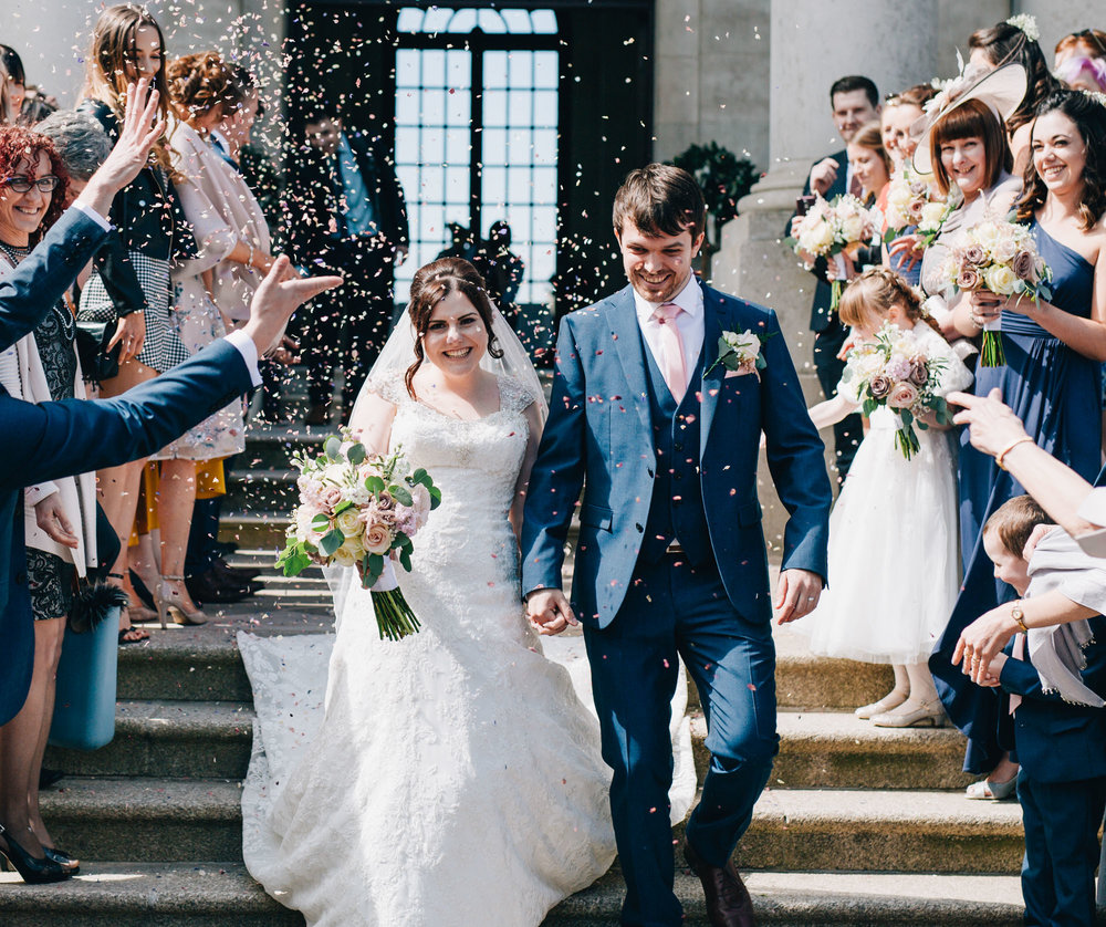 Confetti trail in Ashton memorial, Wedding in Lancaster, Documentary styled photography.